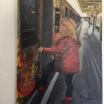 Girl boarding train at Sheringham